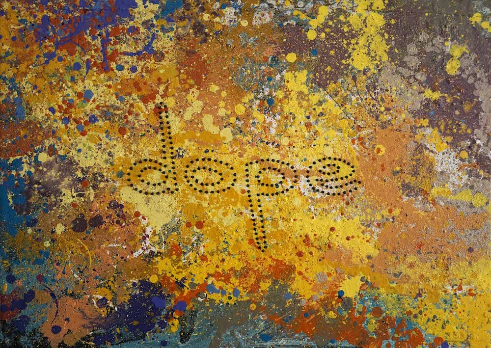''dope'' spray paint and screws on wood  65x46cm