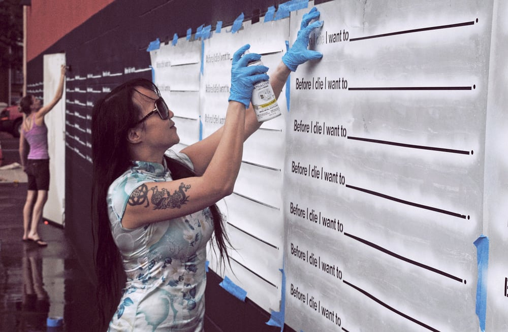 Candy Chang stenciling BID Ogden Museum New Orleans photo by James Reeves_p